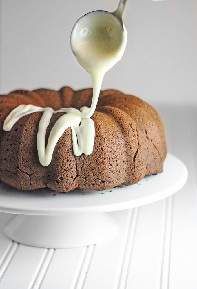 Lemon Glazed Gingerbread Pound Cake with Lemon Cream Cheese Filling