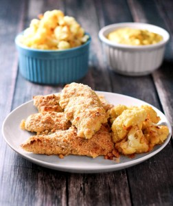 Baked Almond Crusted Chicken Fingers with Bake Parmesan Cauliflower Fries