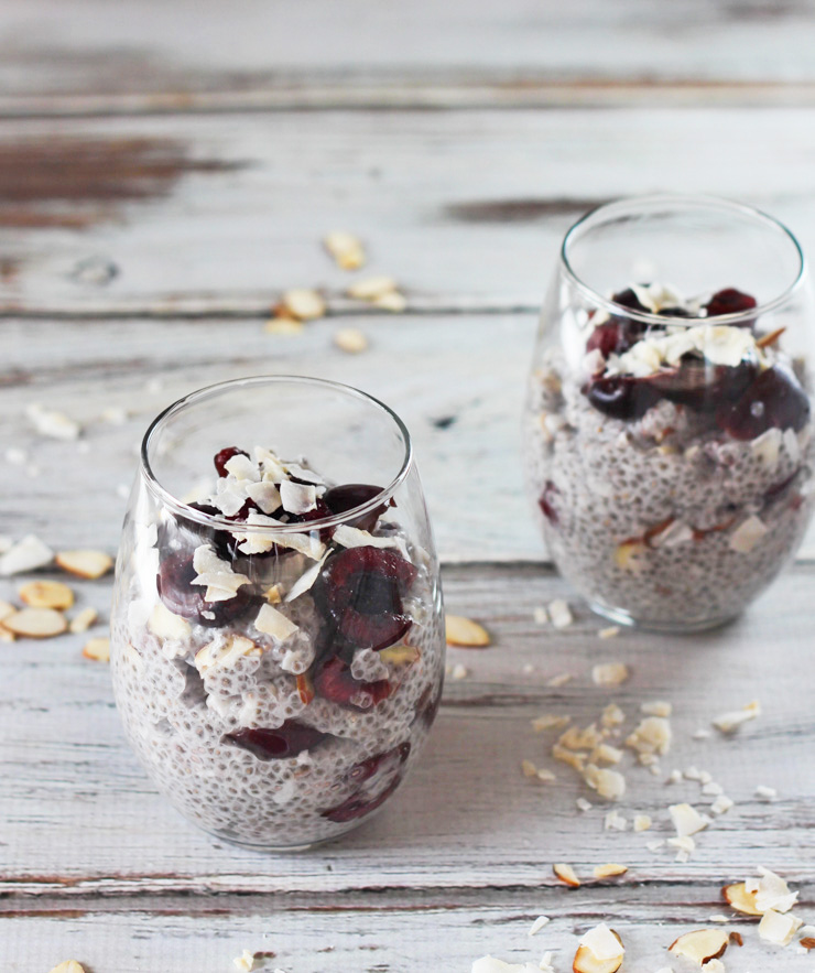 Cherry Coconut Almond Chia Seed Pudding