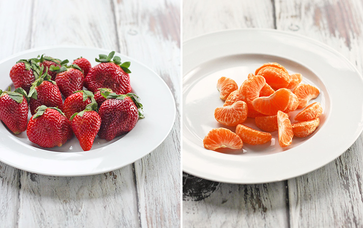 Usually, we think of chocolate dipped strawberries for Valentine's Day, but any non-cut or dried fruit will work. Here I used strawberries and mandarin orange segments.