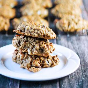Pumpkin Oatmeal Cookies with Cranberries and White Chocolate Chips