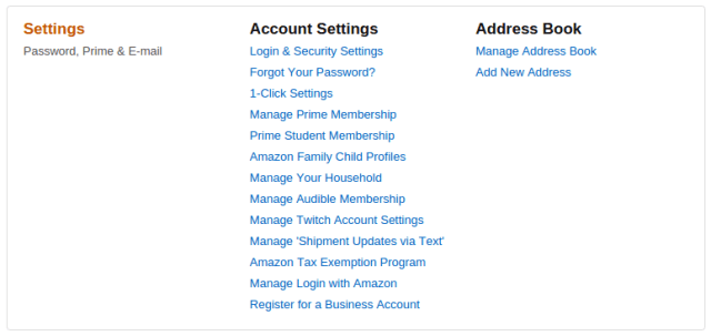 settings amazon two step verification