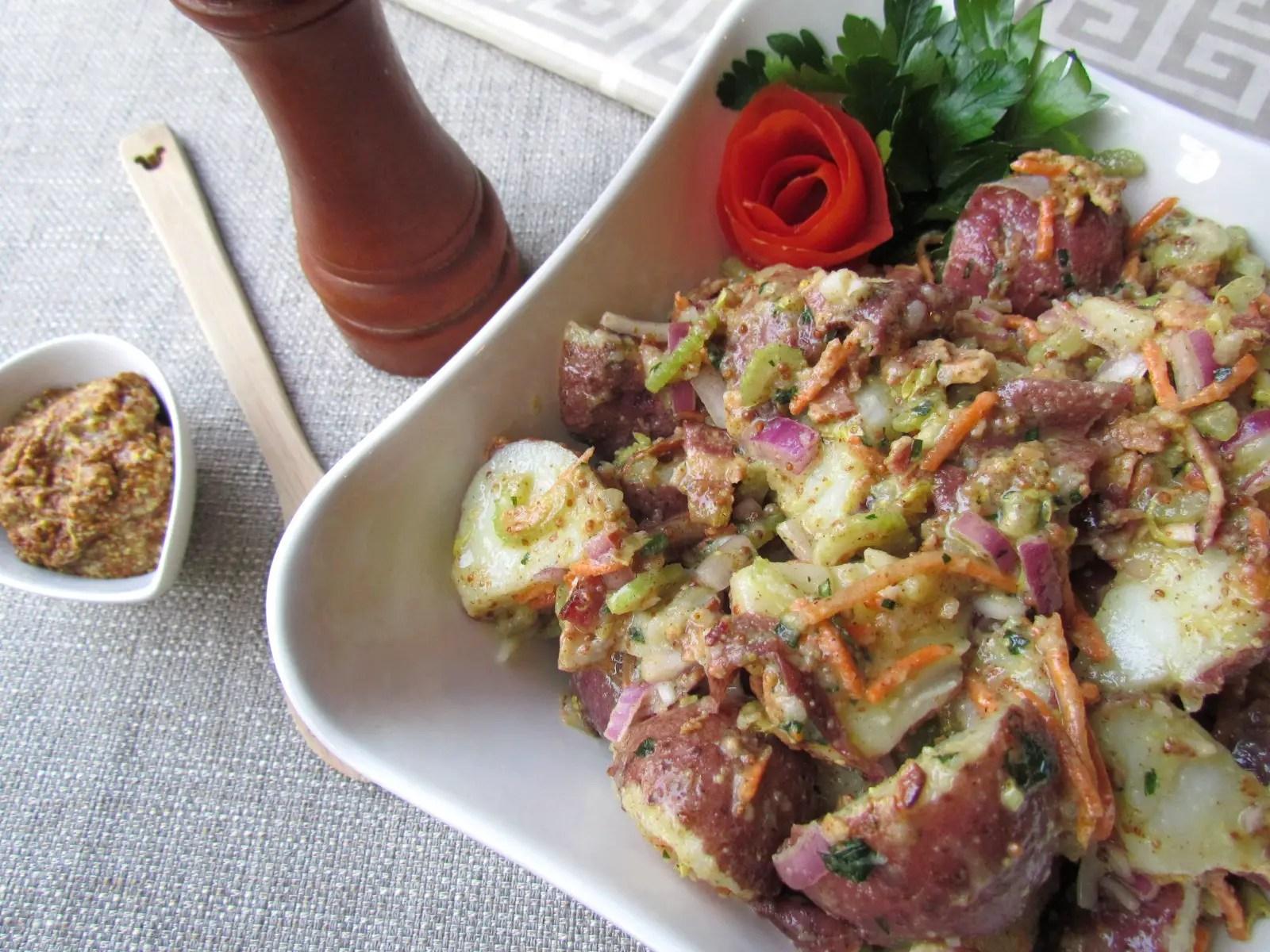 Red Skinned Potato Salad with Three Mustard Vinaigrette