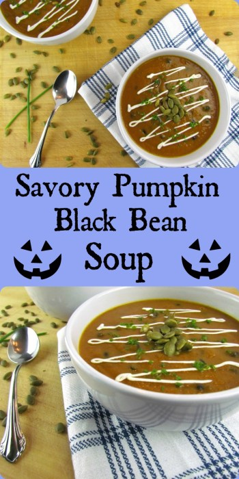 Pinterest pin of bowls of pumpkin black bean soup on top and underneath text of pumpkin black bean soup flanked by jack-o-lantern smiley faces