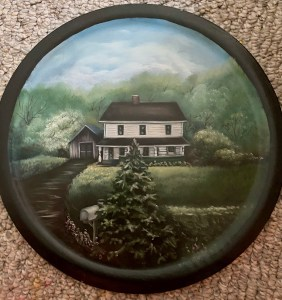 a painting of a house and yard