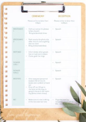 Printable Wedding Instructionals/Instructions