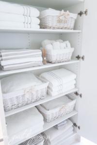 Linen Closet Organisation - www.fromgreatbeginnings.com