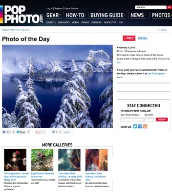 Image of Crater Lake makes the popphoto.com image of the day 2/8/2013