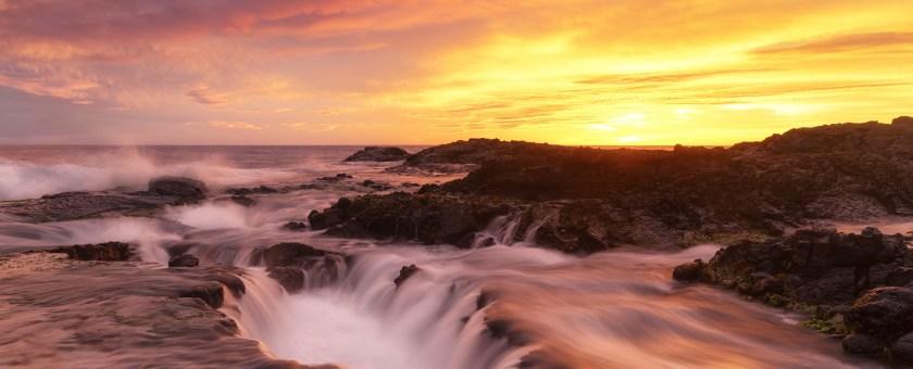 Beautiful Hawaiian sunset along the Kona coastline