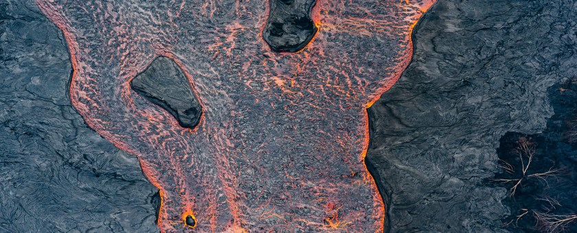 Texture of lava as it flows like a river