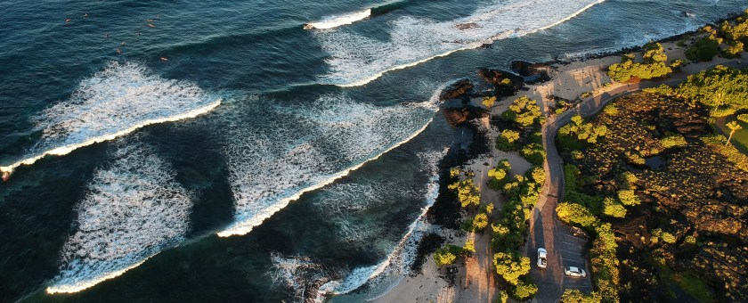 aerial of the Kaiminani beach during sunrise