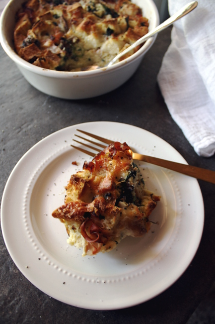 English Muffin Ham and Cheese Strata