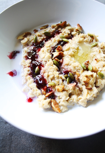 Jam-Swirled Oatmeal with Salty Honey Butter