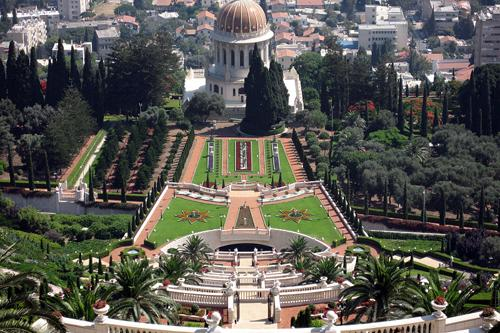 A panoramic view from the top of the stairwell, Bahai Gardens in Haifa