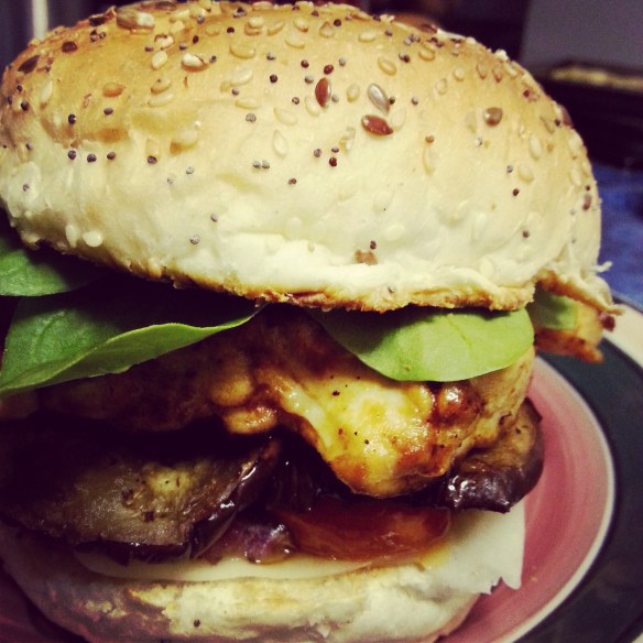 Chicken Burger: Lightly spiced chicken breast; roast aubergine, rosa tomatoes and red onion; fresh baby spinach; seeded bun.