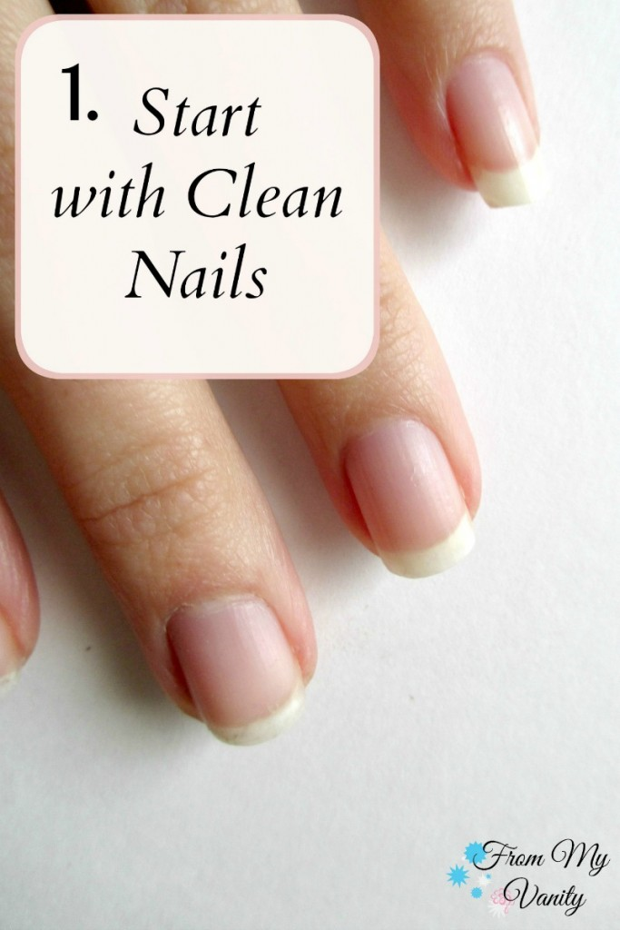 Easy DIY French Manicure at Home // Nail Tutorial // Step 1 // FromMyVanity.com