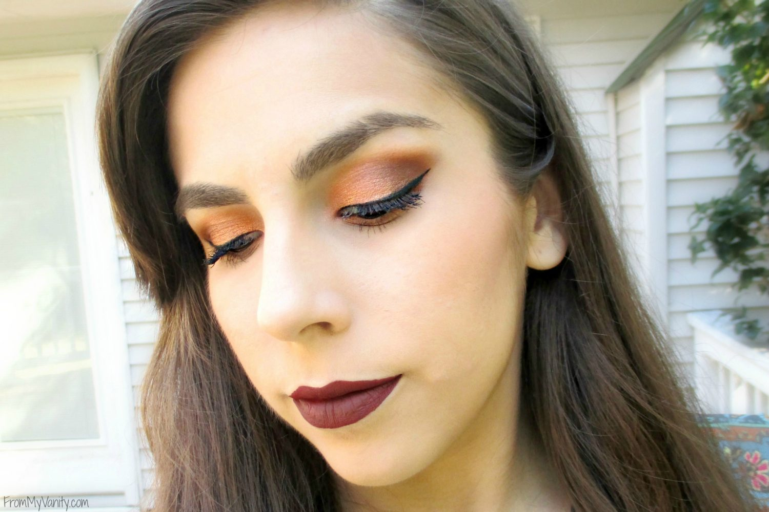 Fall-Inspired Face of the Day // featuring Too Faced Semi-Sweet Chocolate Bar Palette // Closed Eyes // #bbcchallenge #fotd #toofaced FromMyVanity.com