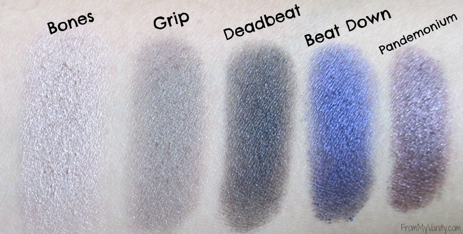 Urban Decay Vice 4 Palette // Swatches of the First Row in Palette // FromMyVanity.com