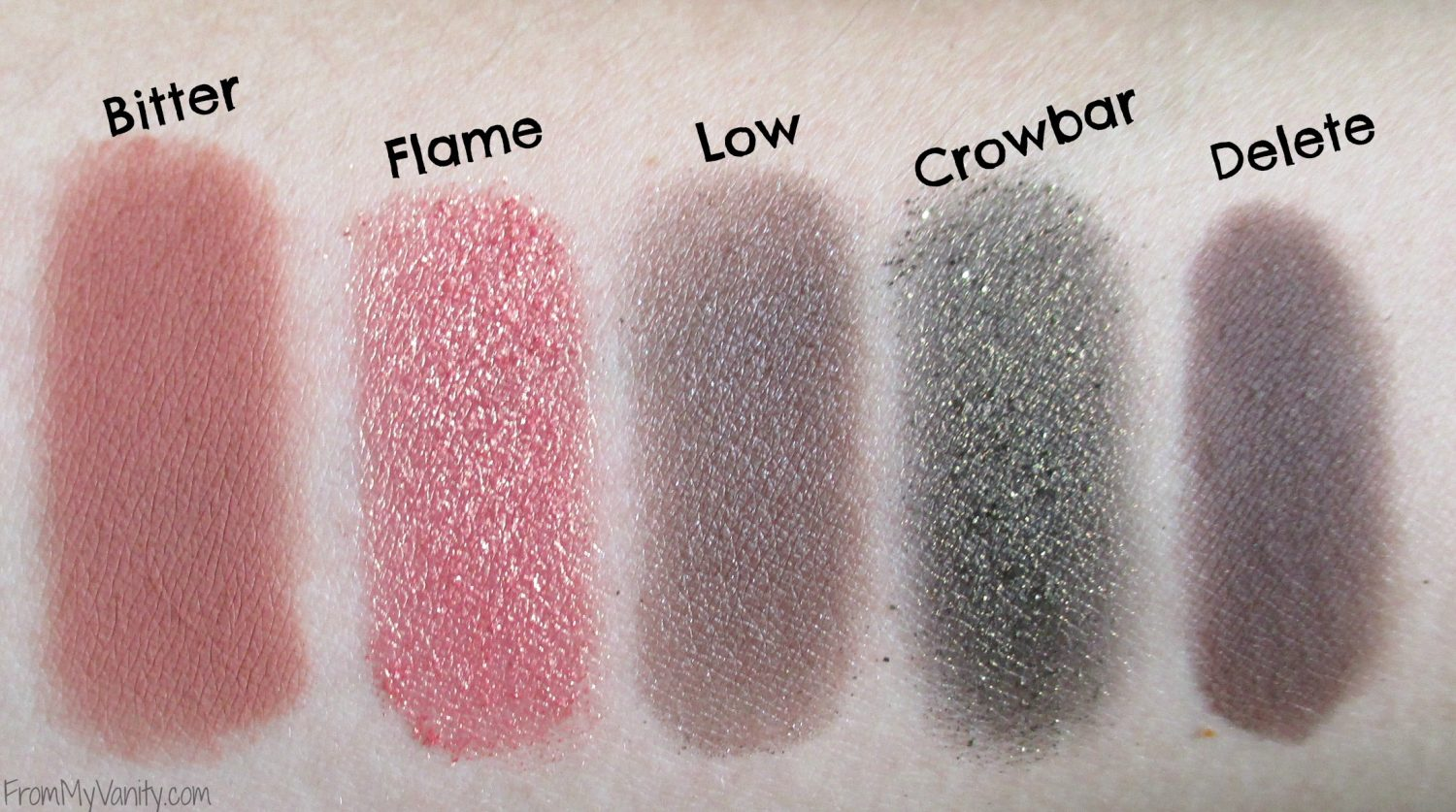 Urban Decay Vice 4 Palette // Swatches of the Fourth Row in Palette // FromMyVanity.com