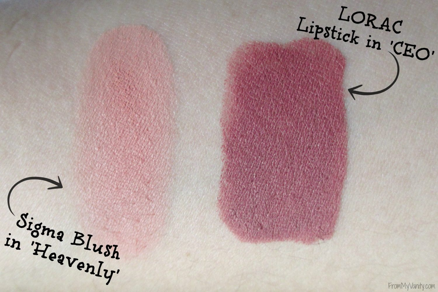 Monthly Beauty Favorites // October 2015 // Sigma Blush in Heavenly & LORAC Lipstick in CEO Swatches // FromMyVanity.com