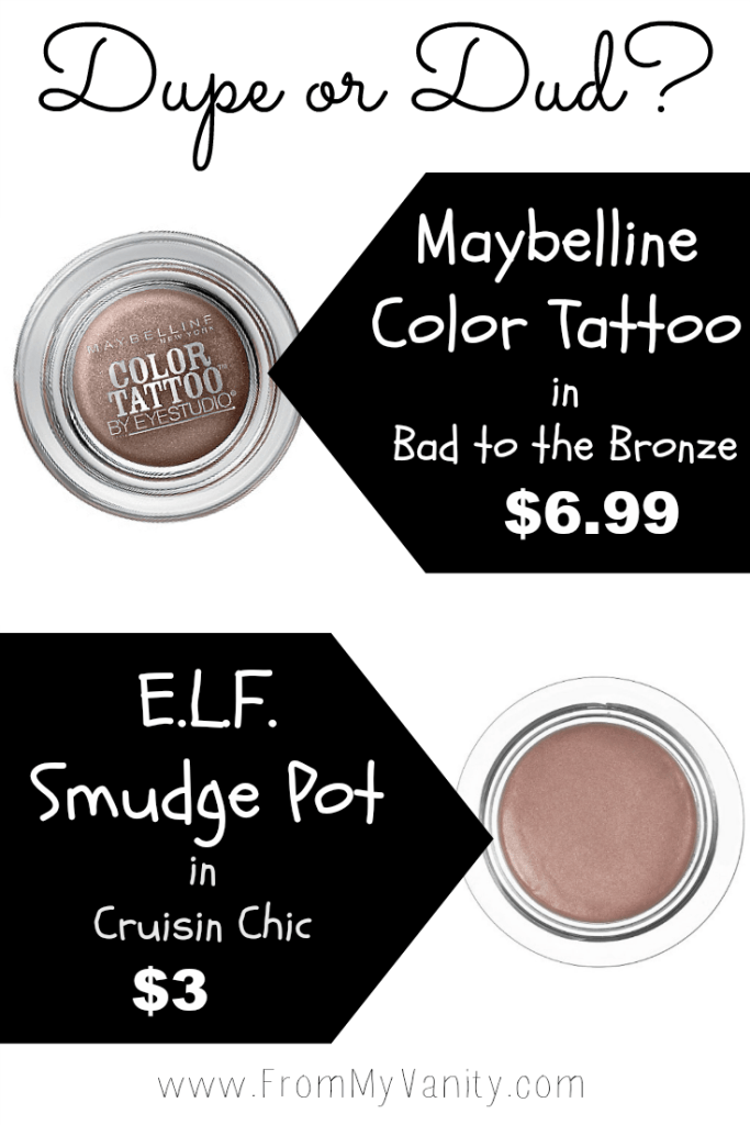Curious to see if e.l.f.'s smudge pot is a dupe for a cult-favorite shade from Maybelline's Color Tattoo line? Click to find out! // FromMyVanity.com