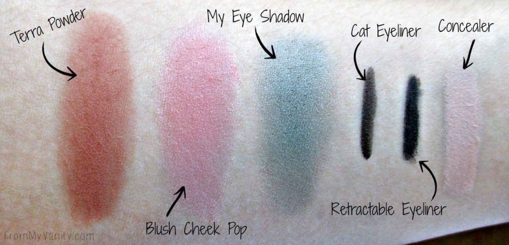All the swatches from the 2B Colours products I have. Great pigmentation! #2BColours #makeup