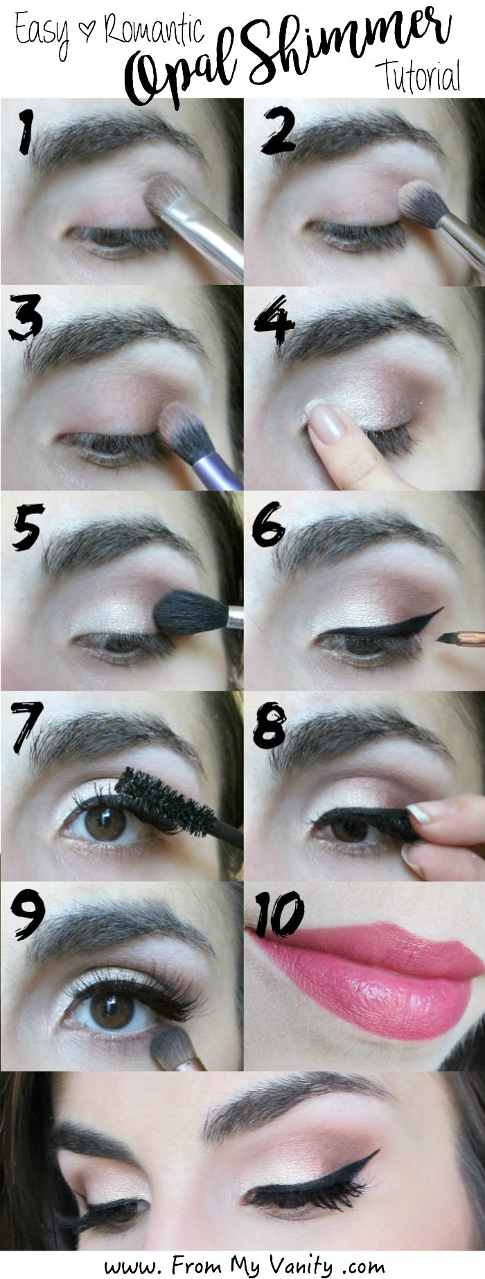 Step by step tutorial for a prom-inspired opal shimmering makeup eye look. So easy, and it only requires a few shadows!