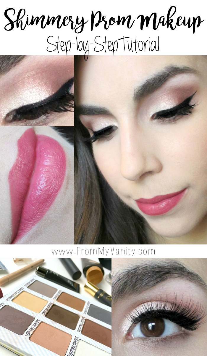 Shimmery prom makeup step-by-step tutorial featuring an opal shimmery eye and a mauve lip!
