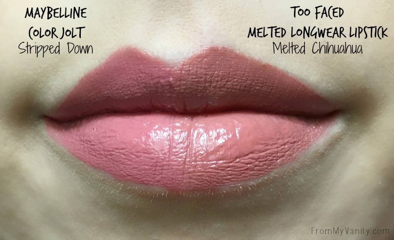 Lip swatch of the Melted and Color Jolts liquid lipsticks!