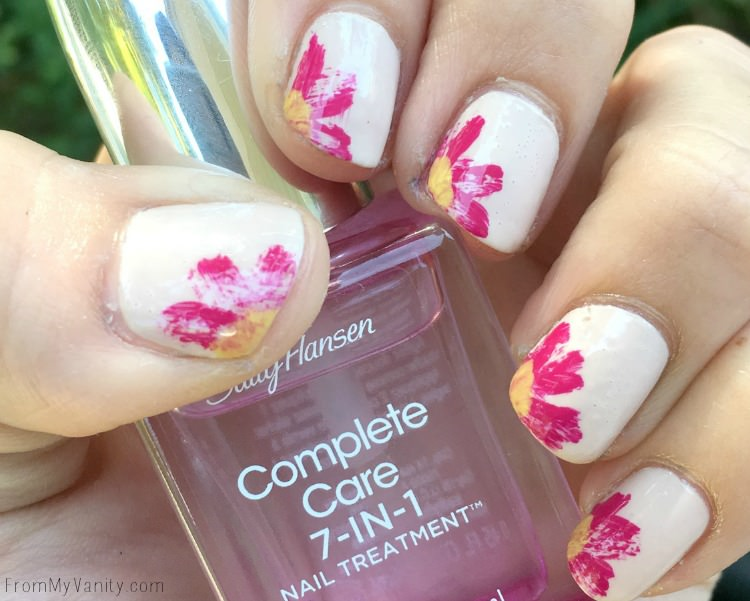 Super easy Sally Hansen dry brush flower nail art tutorial!