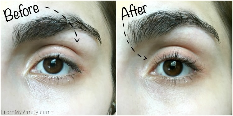 heated eyelash curler results. check out that curl! heated eyelash curler results r