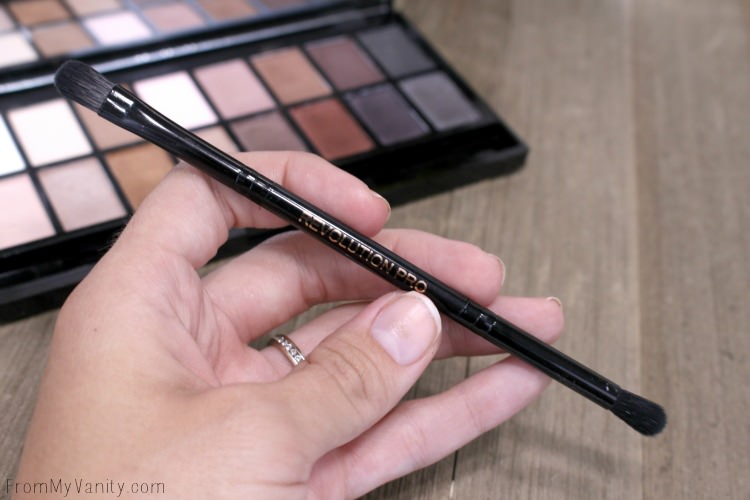 The dual ended eyeshadow brush that comes with the Makeup Revolution Iconic Pro 1 palette