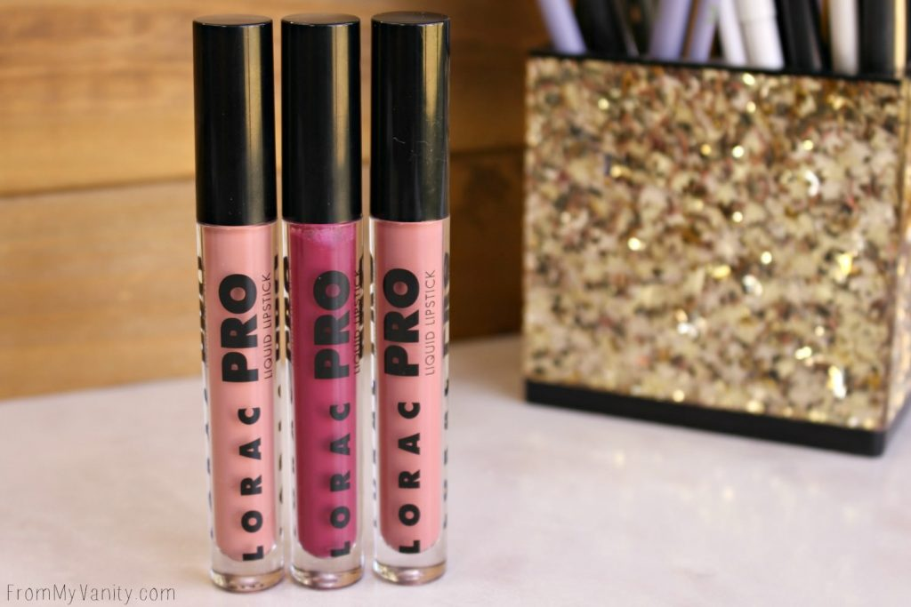 LORAC PRO liquid lipsticks, all in a row