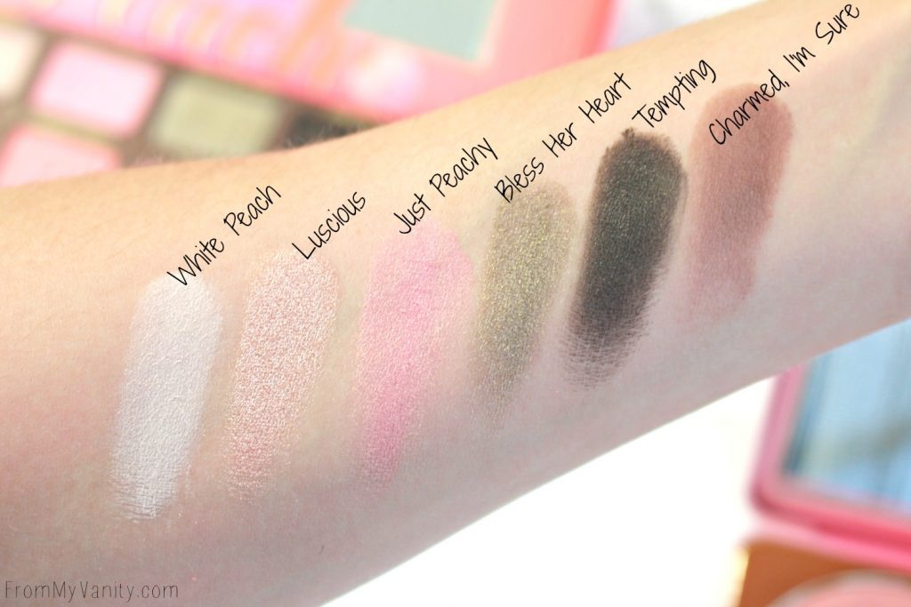 Too Faced Sweet Peach Palette   Swatches of the first row   Limited Edition