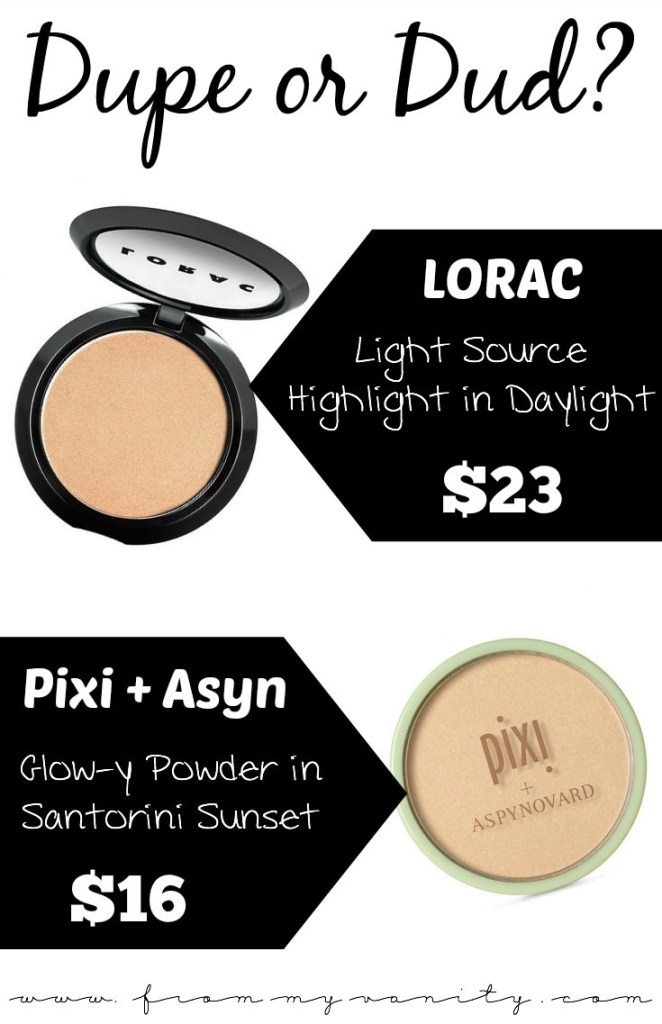Dupe or Dud | LORAC Light Source Highlighter in Daylight VS PIXI x AspynOvard Glow-Y Powder in Santorini Sunset | Is it a Dupe?
