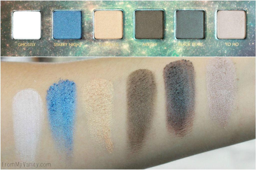 LORAC + Pirates of the Caribbean Collection   Review, Swatches, and Demo   Eyeshadow Palette   Swatches of First Row