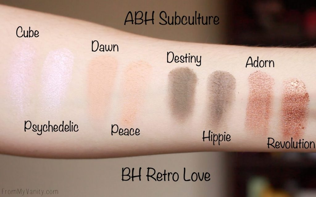 Dupe or Dud   ABH Subculture Palette vs Bad Habit Retro Love Palette   Eye Look Comparison!   Row 1 Swatches