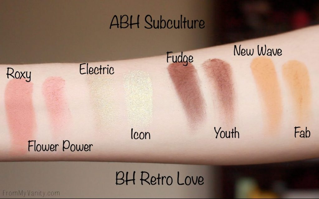 Dupe or Dud   ABH Subculture Palette vs Bad Habit Retro Love Palette   Eye Look Comparison!   Row 3 Swatches