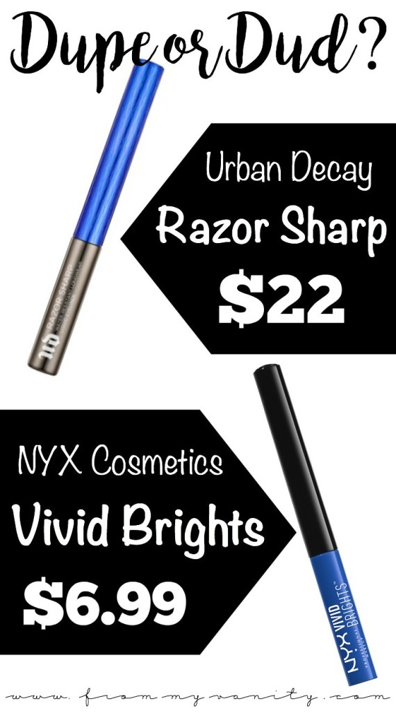 Dupe or Dud | Urban Decay Razor Sharp VS NYX Vivid Brights Liquid Liners | Dupe or Dud? You Be the Judge! | Katie Marie | Comparisons, Swatches, Similarities, Differences