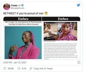 DJ Cuppy Celebrates As She Features On Forbes Magazine