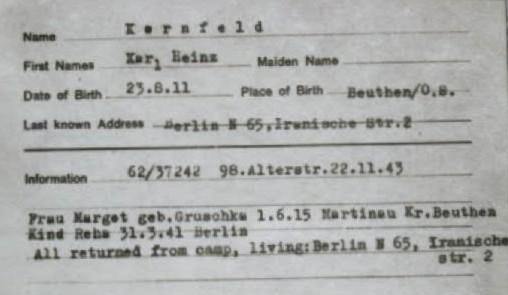Heinz Kornfeld record card
