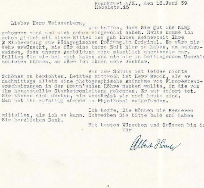 Letter: 16th June, 1939