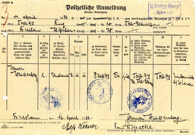 16th April 1932 Breslau Police registration form, page one