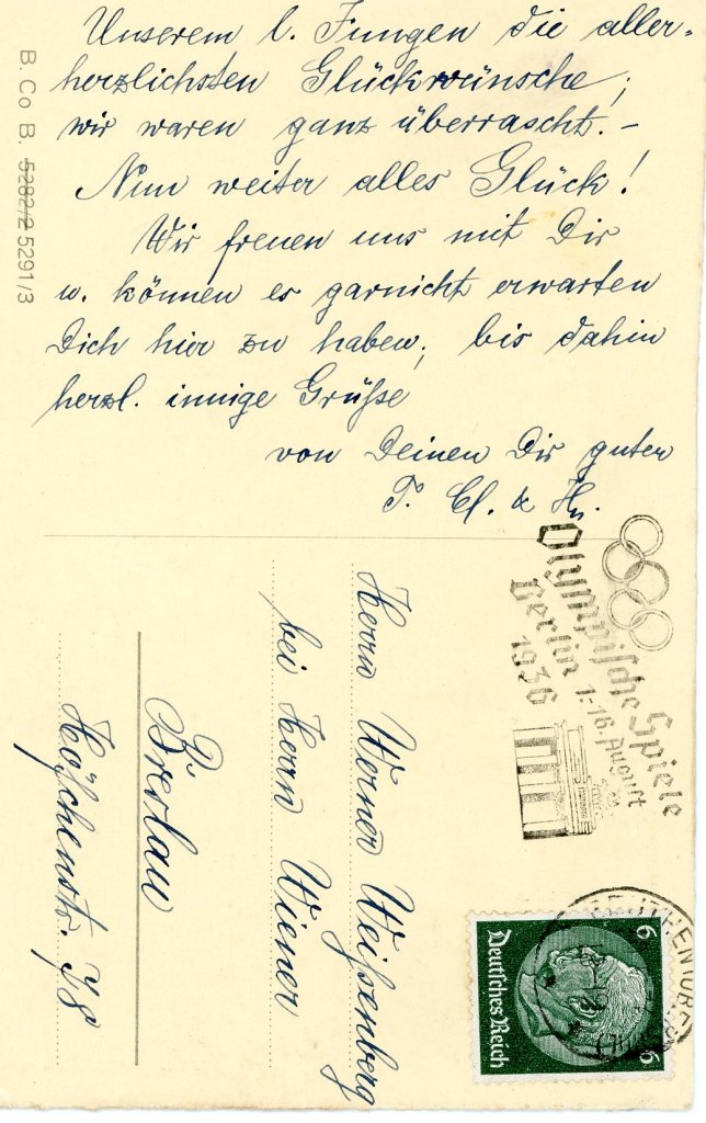 1937 postcard from Clara and Hedel - reverse