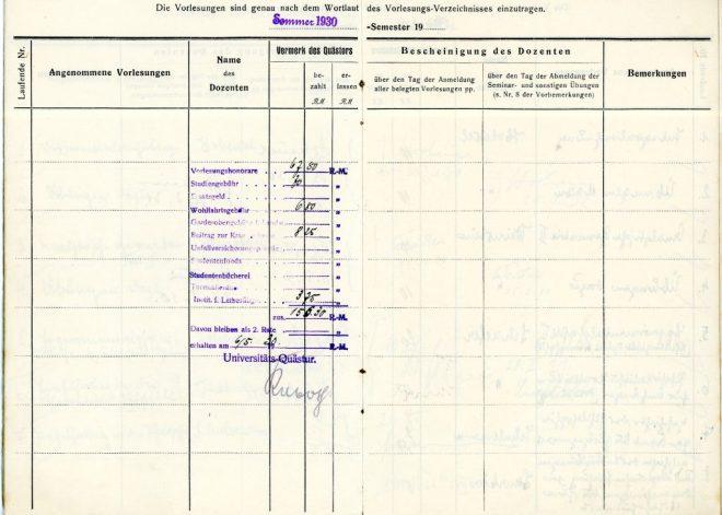 Anmeldungs Buch, Summer 1930 - accounts