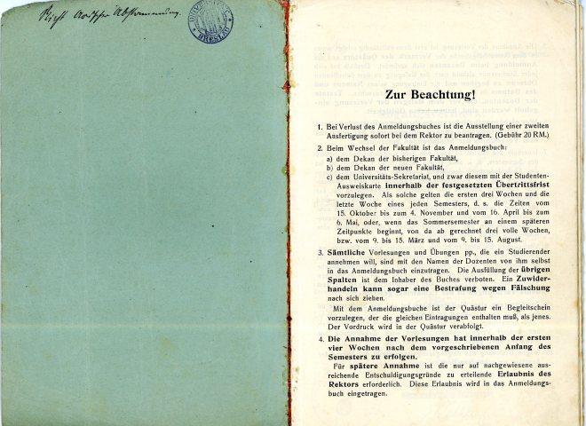 Breslau Anmeldungs book - inside cover