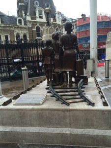 "Inscription: Children of the Kindertransport - In gratitude to the people of Britain for saving the lives of 10,000 unaccompied mainly Jewish children who fled from Nazi persecution in 1938 and 1939. ""Whosoever rescues a single soul is credited as though they had saved the whole world."" Talmud"