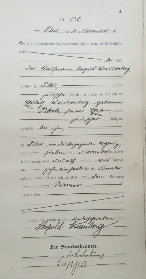 Birth certificate, Pless 1911