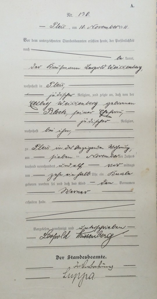 Werner's birth certificate, Pless, 1911