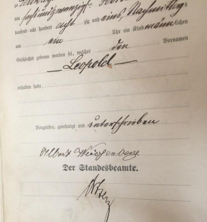 Albert Weissenberg, signature on his son's birth certificate, 1881